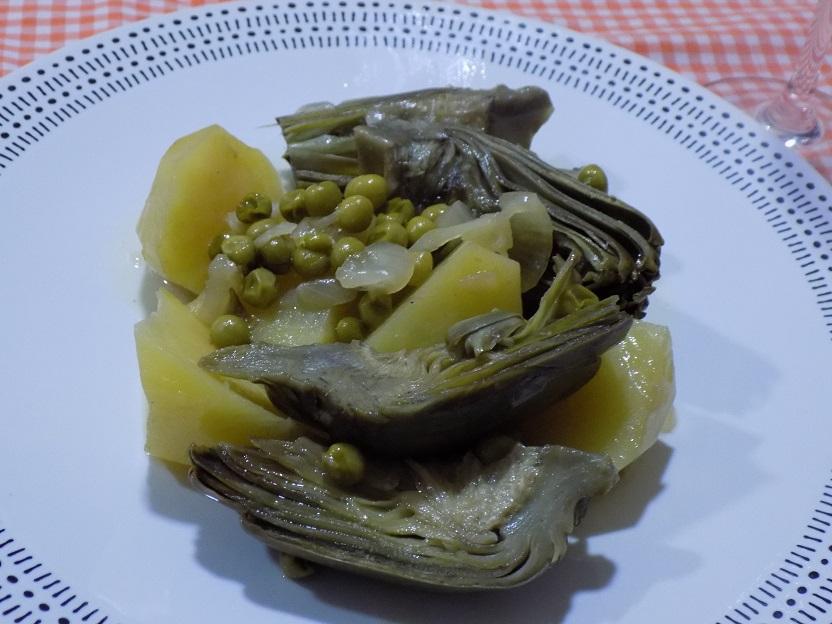 Alcachofas con patatas y guisantes con Mycook